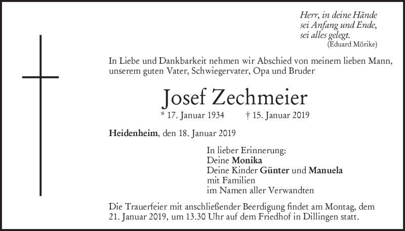 Traueranzeige Josef Zechmeier