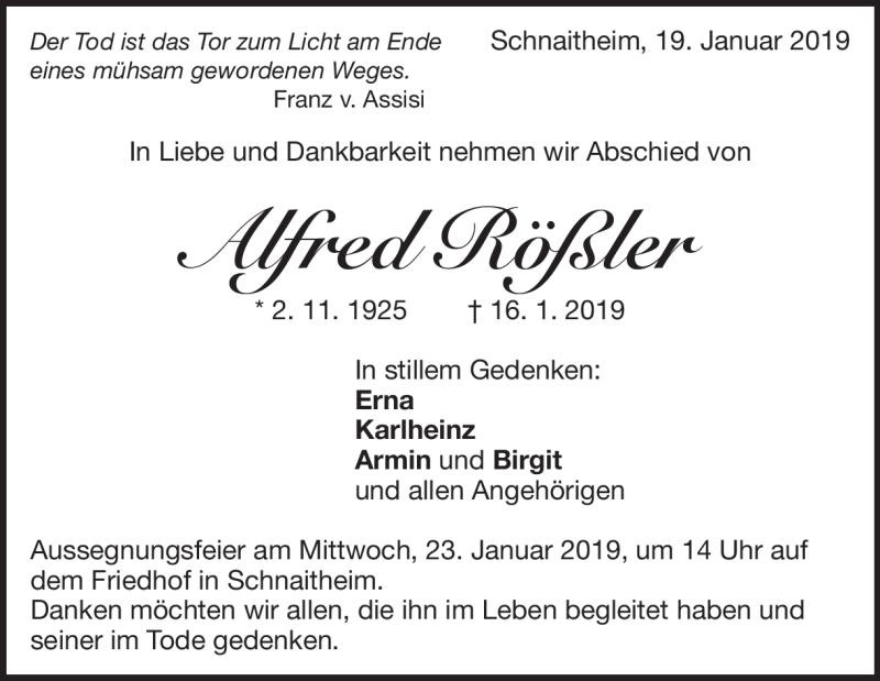 Traueranzeige Alfred Rößler
