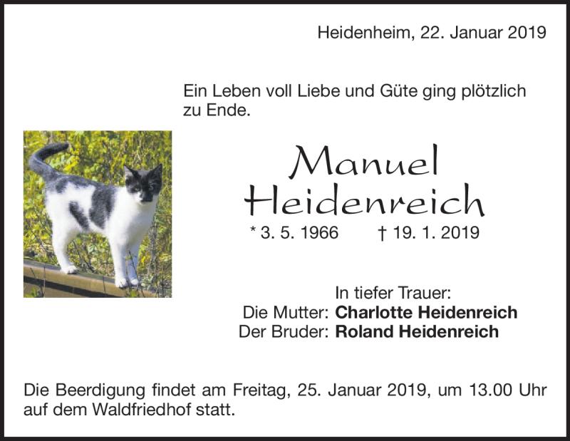 Traueranzeige Manuel Heidenreich