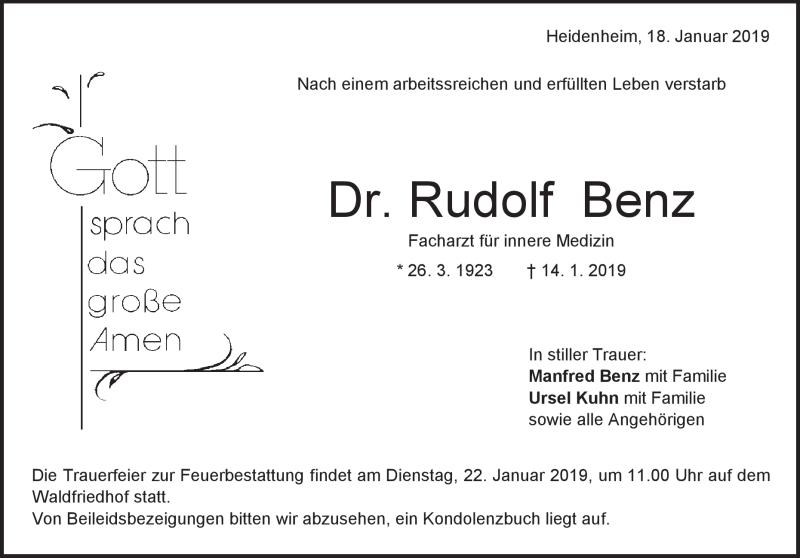 Traueranzeige Rudolf Benz