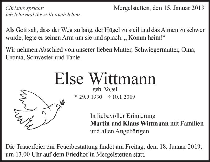 Traueranzeige Else Wittmann