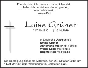Anzeige Luise Grüner