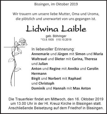 Anzeige Lidwina Laible
