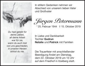 Anzeige Jürgen Petermann