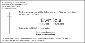 Anzeige Erwin Saur