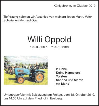 Anzeige Willi Oppold