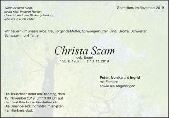 Anzeige Christa Szam