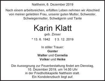 Anzeige Karin Klatt