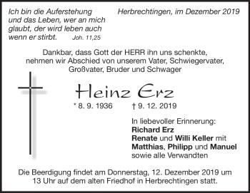 Anzeige Heinz Erz