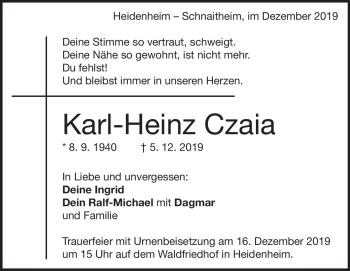 Anzeige Karl-Heinz Czaia