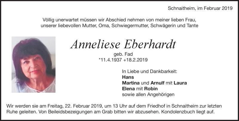 Traueranzeige Anneliese Eberhardt