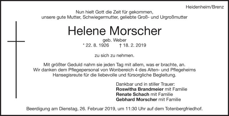 Traueranzeige Helene Morscher