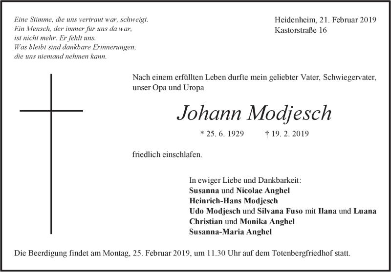 Traueranzeige Johann Modjesch