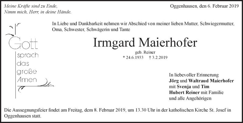Traueranzeige Irmgard Maierhofer