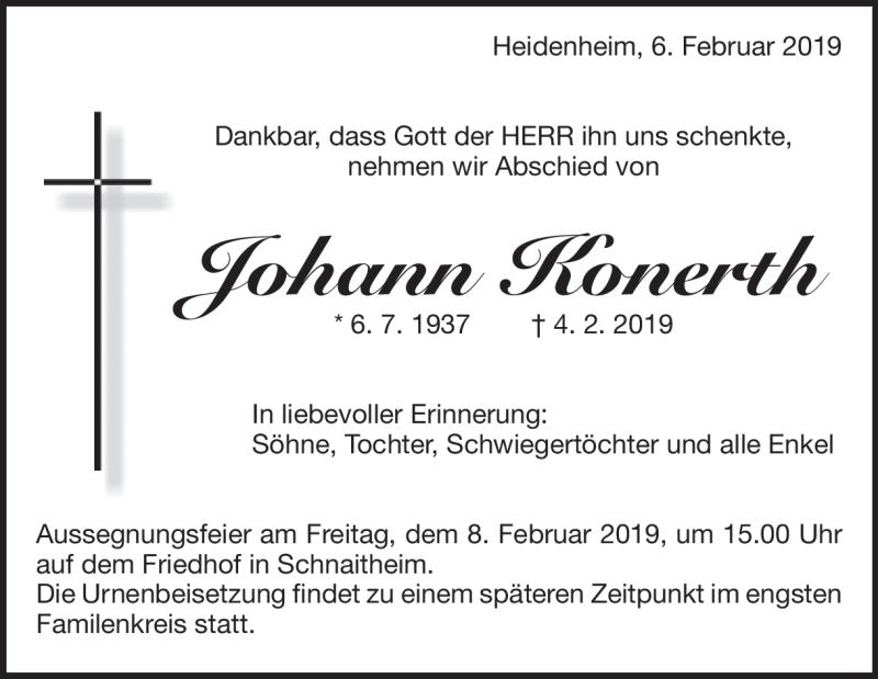 Traueranzeige Johann Konerth