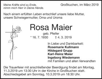 Anzeige Rosa Maier