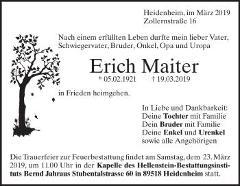 Anzeige Erich Maiter