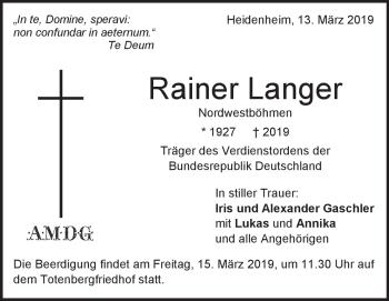 Anzeige Rainer Langer