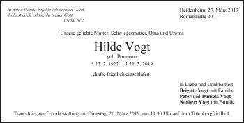 Anzeige Hilde Vogt