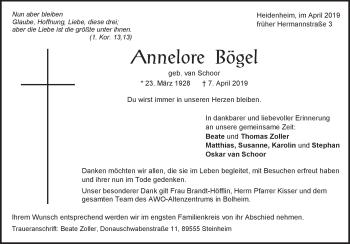 Anzeige Annelore Bögel
