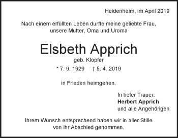Anzeige Elsbeth Apprich