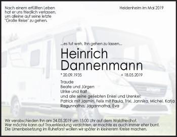 Anzeige Heinrich Dannenmann
