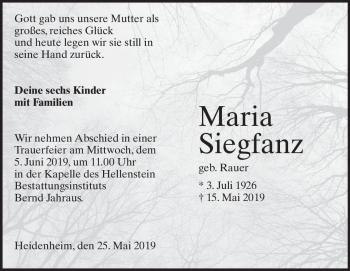 Anzeige Maria  Siegfanz