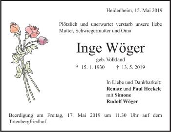 Anzeige Inge Wöger