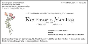 Anzeige Rosemarie Montag