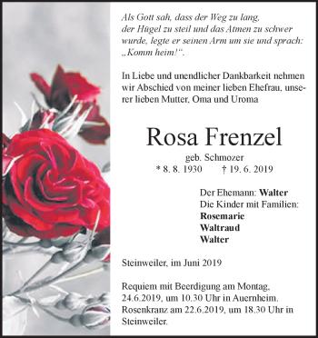 Anzeige Rosa Frenzel