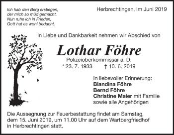 Anzeige Lothar Föhre