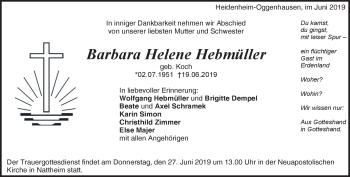 Anzeige Barbara Helene Hebmüller
