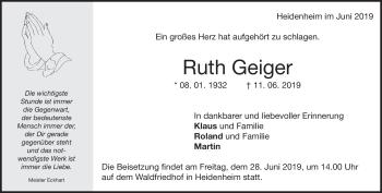 Anzeige Ruth Geiger