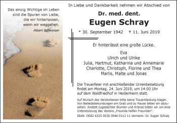 Anzeige Dr. med. dent. Eugen Schray