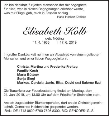 Anzeige Elisabeth Kolb
