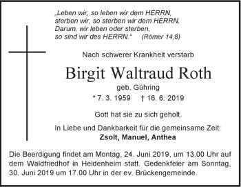 Anzeige Birgit Waltraud Roth