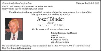Anzeige Josef Binder