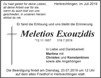 Anzeige Meletios Exouzidis