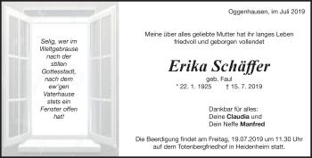 Anzeige Erika Schäffer