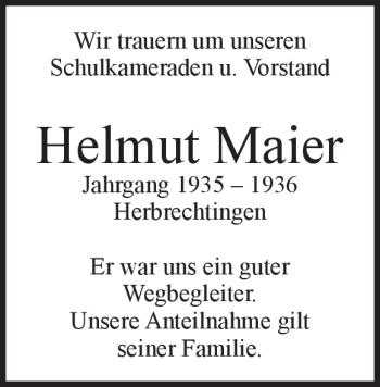Anzeige Helmut Maier
