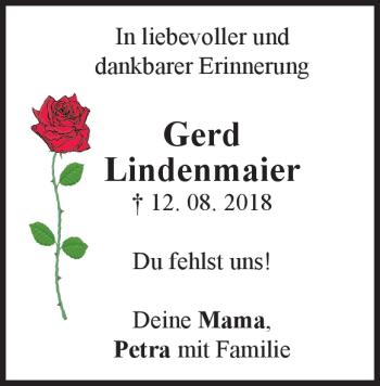 Anzeige Gerd Lindenmaier