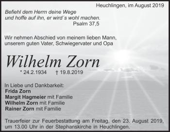 Anzeige Wilhelm  Zorn