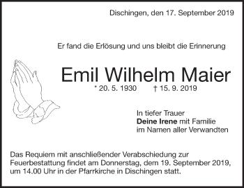 Anzeige Emil Wilhelm Maier