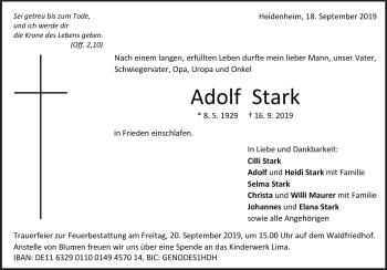 Anzeige Adolf Stark