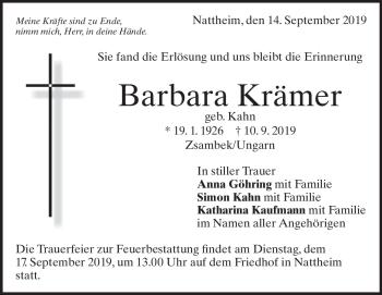 Anzeige Barbara Krämer