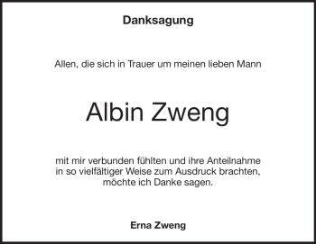 Anzeige Albin Zweng