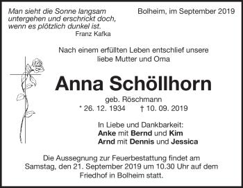 Anzeige Anna Schöllhorn