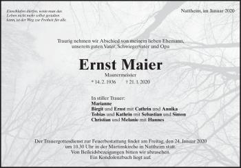 Anzeige Ernst Maier