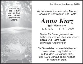 Anzeige Anna Kurz