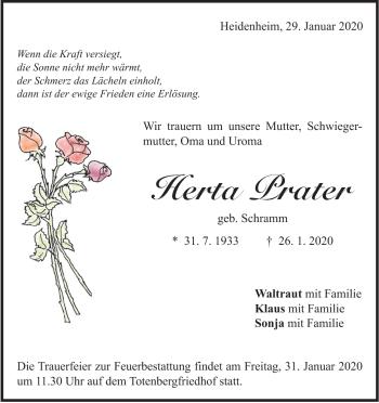 Anzeige Herta Prater